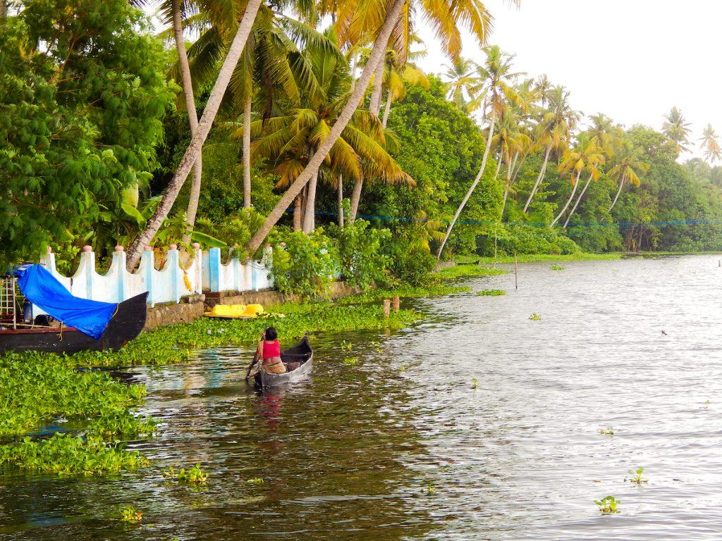 fisherwoman at Lake Vembanad